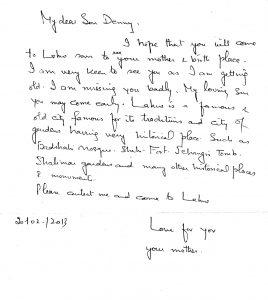 Letter for Danny